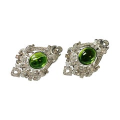 Diamond and Peridot Stud Earrings in 18k White Gold