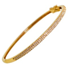 Diamond and Pink Rose Bangle Bracelet