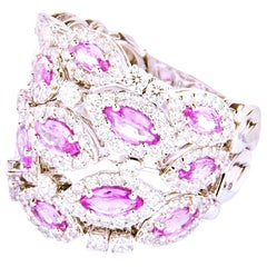 Diamond and Pink Sapphire 18 Karat White Gold Cocktail Ring