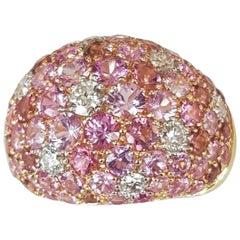 Diamond and Pink Sapphire and Tourmaline Ring in 18 Karat Yellow Gold