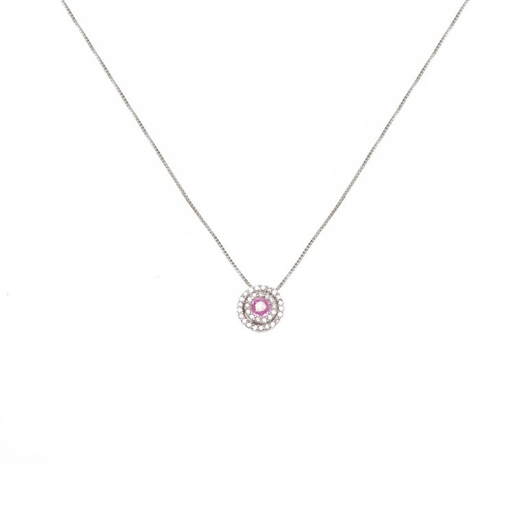 Diamond and pink sapphire circle pendant necklace at 1stdibs diamond and pink sapphire circle pendant necklace for sale mozeypictures Gallery