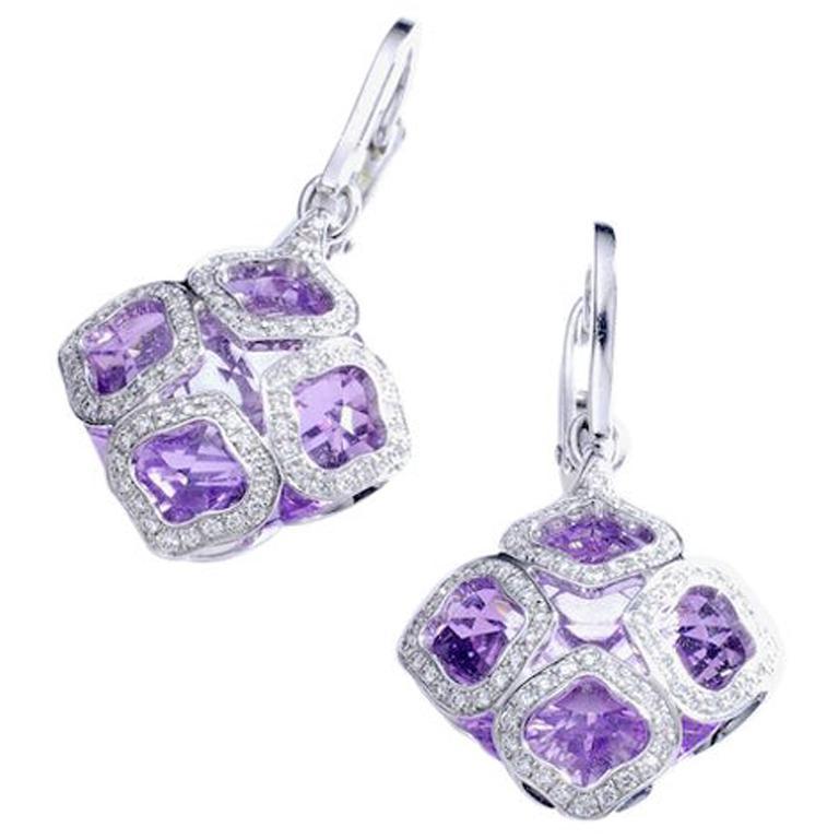 Chopard Imperiale Amethyst Diamond white Gold  Earrings For Sale