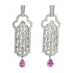 Diamond and Pink Sapphire Earrings Set in 18 Karat White Gold Settings
