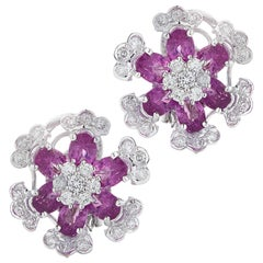 Diamond and Pink Sapphire Flower Earrings