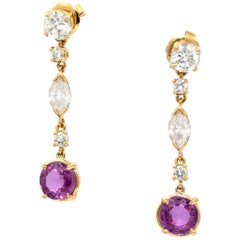 Diamond and Pink Sapphire Hanging Earrings