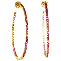Diamond and Pink Sapphire Hoop Style Earrings