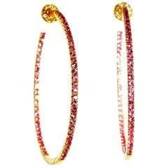 Diamond and Pink Sapphire Hoop Style Earrings