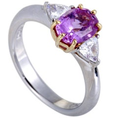 Diamond and Pink Sapphire Platinum and Gold Ring
