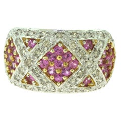 Diamond and Pink Sapphire White Gold Cluster Cocktail Ring