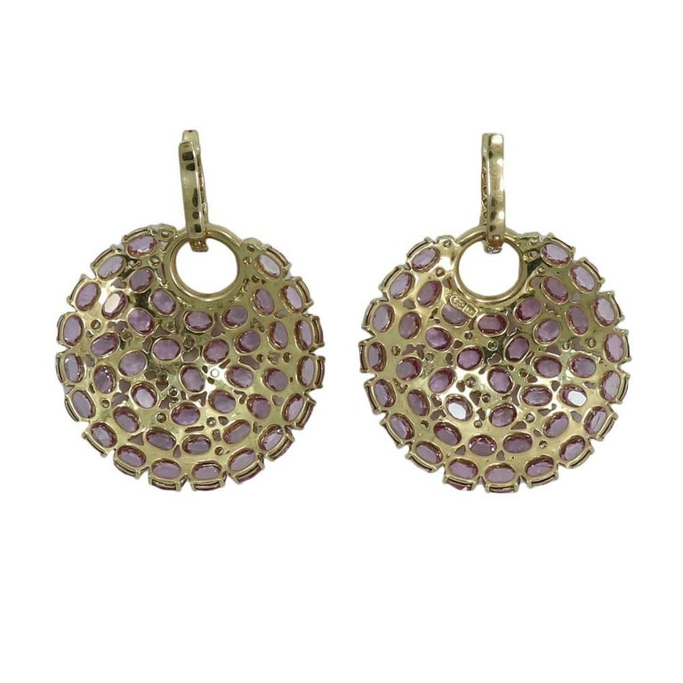 18k Yellow Gold Diamond And Pink Shire Disk Earrings The Diamonds Weigh 2 15 Carats Total
