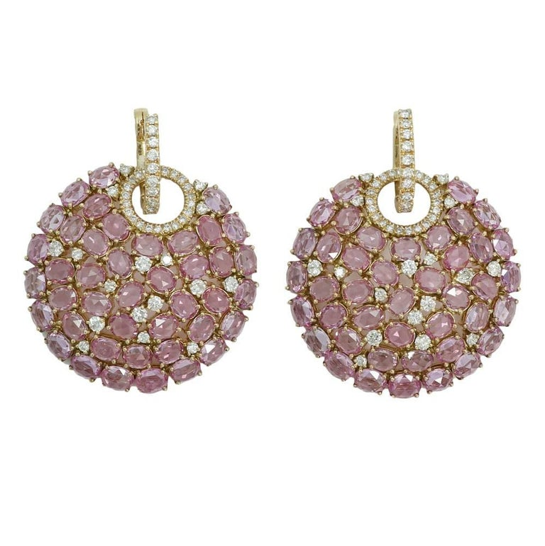 Diamond and Pink Sapphire Yellow Gold Disk Earrings