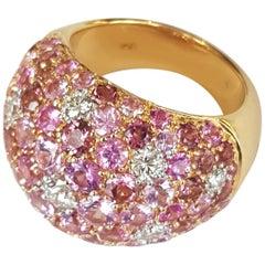 Diamond and Pink Sapphires with Tourmaline 18 Karat Yellow Gold Ring