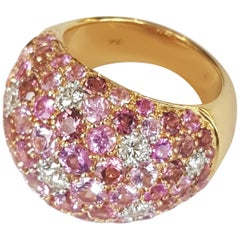 Diamond and Pink Sapphires with Tourmaline 18 Karat Yellow Gold Ring