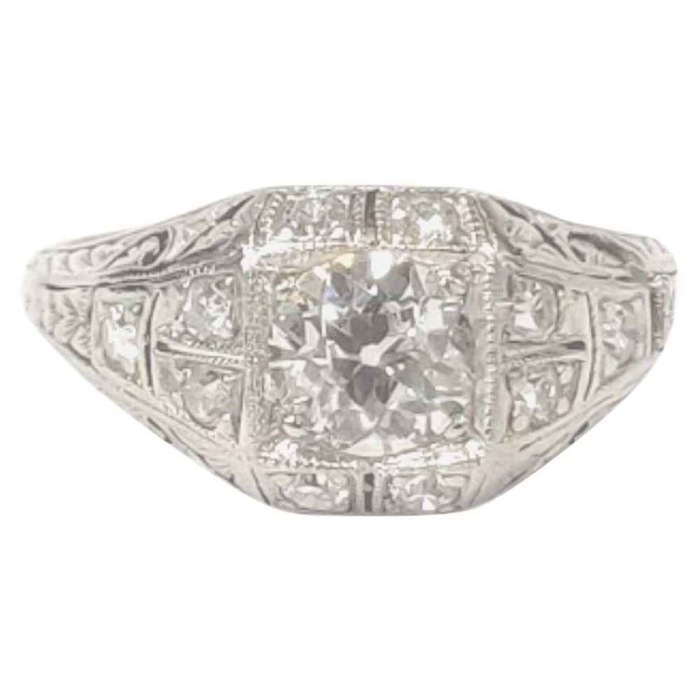 Diamond and Platinum Art Deco Ring, with 1 Carat Diamonds and 0.56 Carat Center