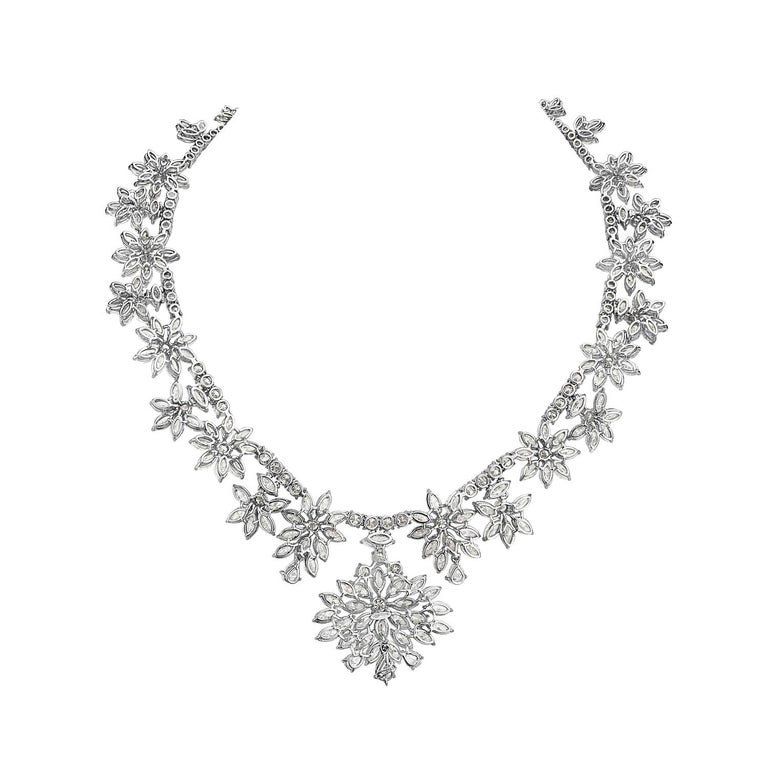 Marquise Cut Diamond and Platinum Cluster Wreath Necklace For Sale