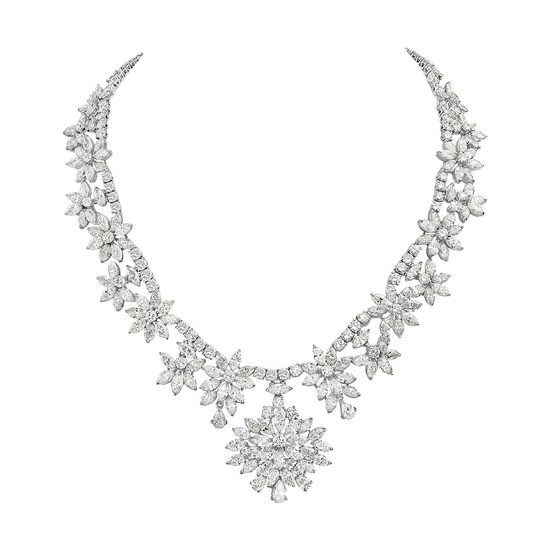 Diamond and Platinum Cluster Wreath Necklace