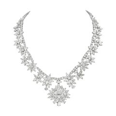 Diamond and Platinum Cluster Wreath Necklace