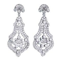 Diamond and Platinum Earrings Ear Pendants