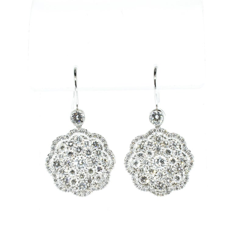 Contemporary Diamond and Platinum Earrings For Sale