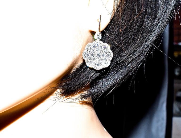 Women's or Men's Diamond and Platinum Earrings For Sale