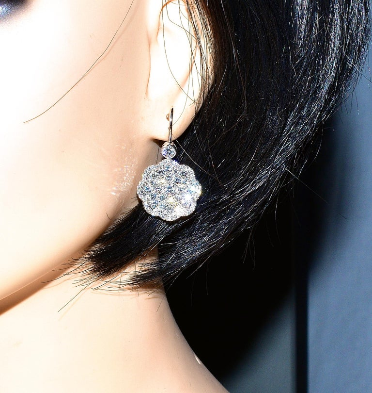 Diamond and Platinum Earrings For Sale 1