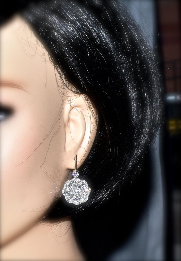 Diamond and Platinum Earrings For Sale 2