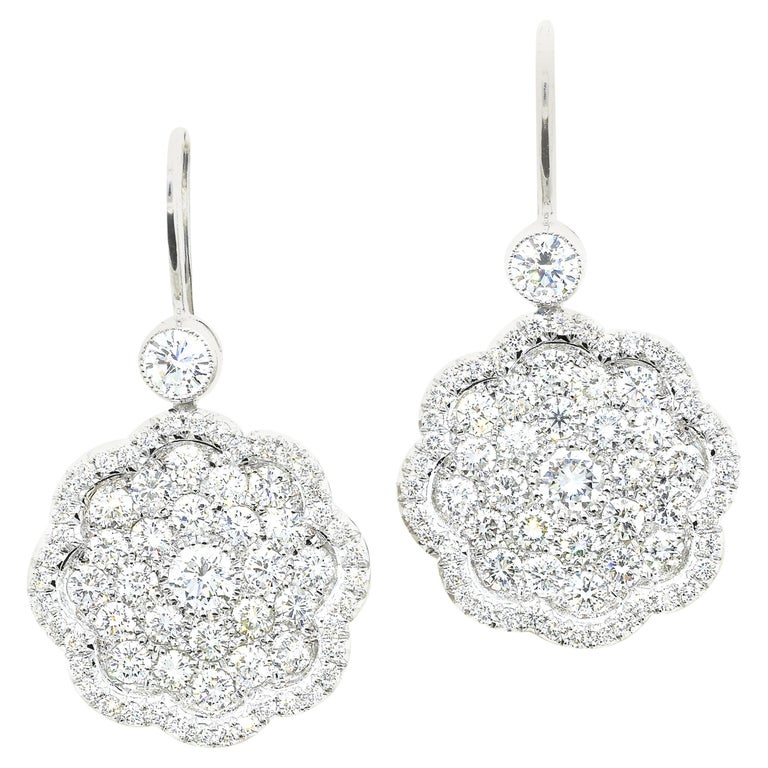 Diamond and Platinum Earrings For Sale