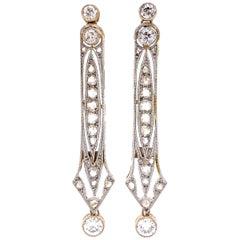 Diamond and Platinum Edwardian Drop Earrings Estate Fine Jewelry