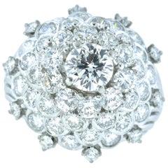 Diamond and Platinum Fine Vintage Handmade Ring, circa 1960
