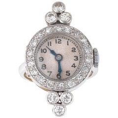 Diamond and Platinum Ring Watch, circa 1930