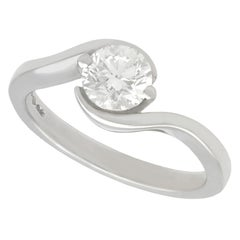 Diamond and Platinum Solitaire Engagement Ring Size P