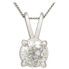 Diamond and Platinum Solitaire Pendant