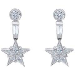 Diamond and Platinum Star Drop Earrings