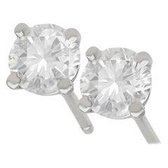 Diamond and Platinum Stud Earrings