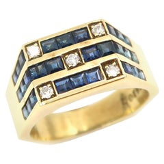 Diamond and Princess Cut Blue Sapphire Grid 18 Karat Gold Hexagon Men's Ring