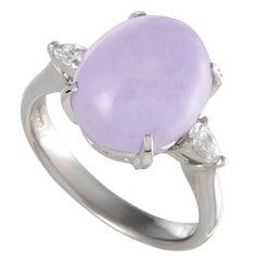 Diamond and Purple Jade Cabochon Three-Stone Platinum Ring