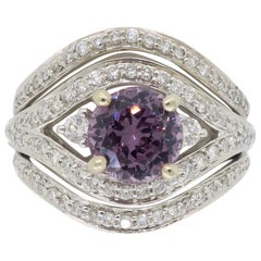 Diamond and Purple Spinel Cocktail Ring
