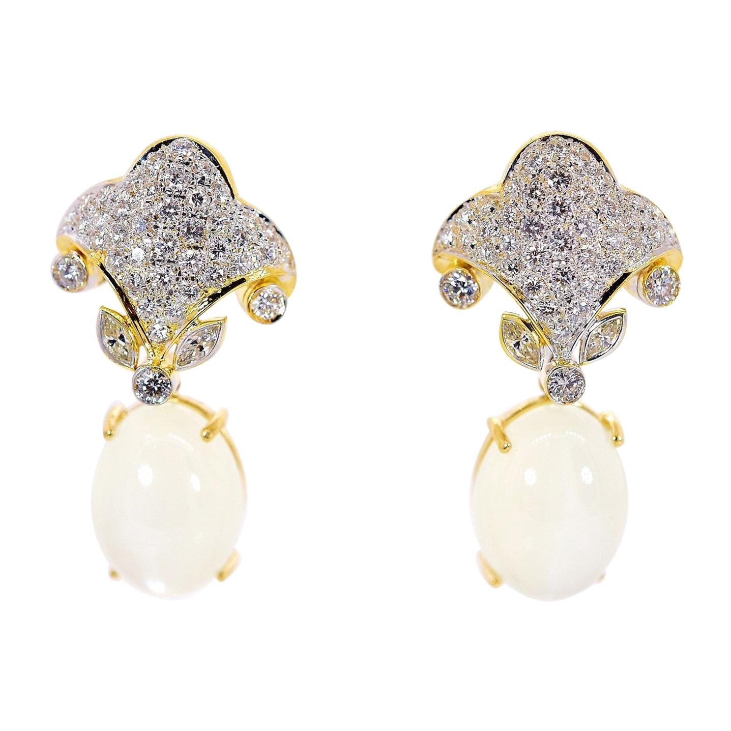Diamond and Quartz Gold Earrings