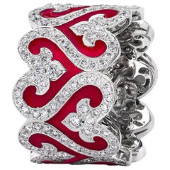 Diamond and Red Enamel Wide Band Ring