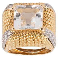 Diamond and Rock Crystal Dome Ring