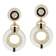 Diamond and Rock Crystal Earrings with Black Enamel in 18 Yellow Gold