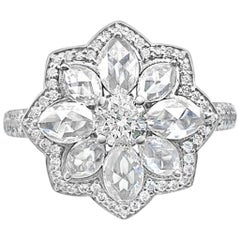 Diamond and Rose Cut Floral Cocktail Ring, in 18 Karat White Gold