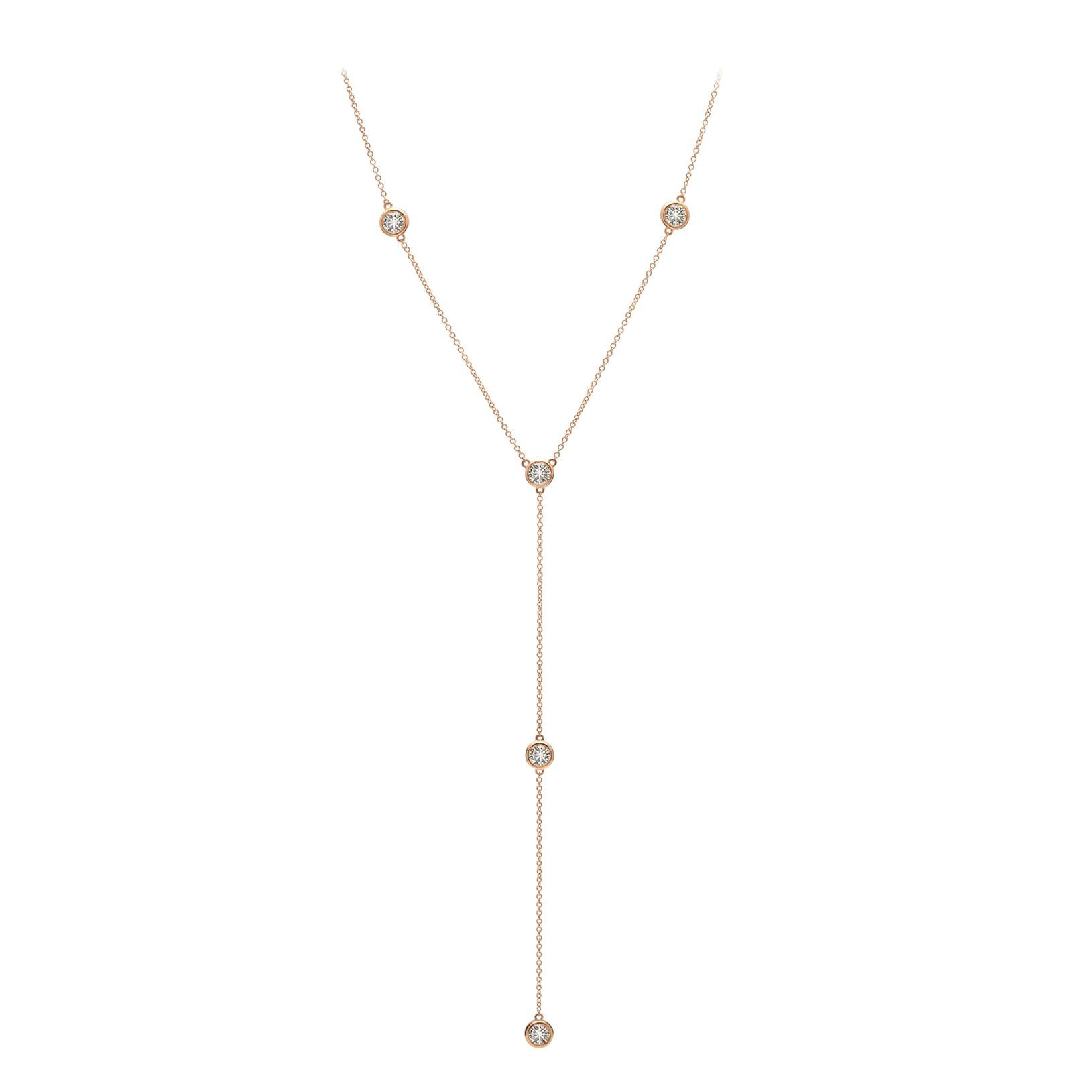 Diamond and Rose Gold Drop Necklace
