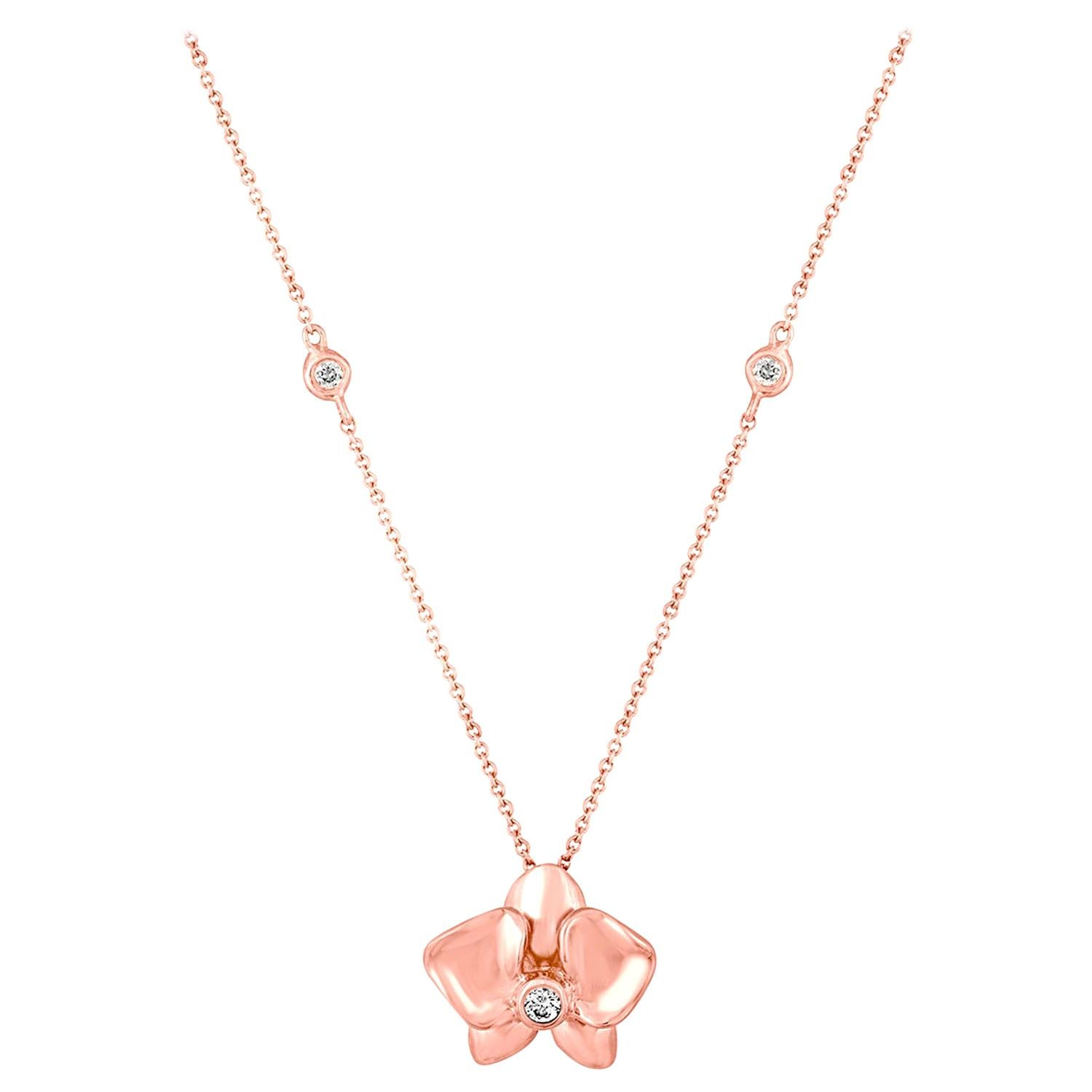 Diamond and Rose Gold Flower Pendant Chain Necklace