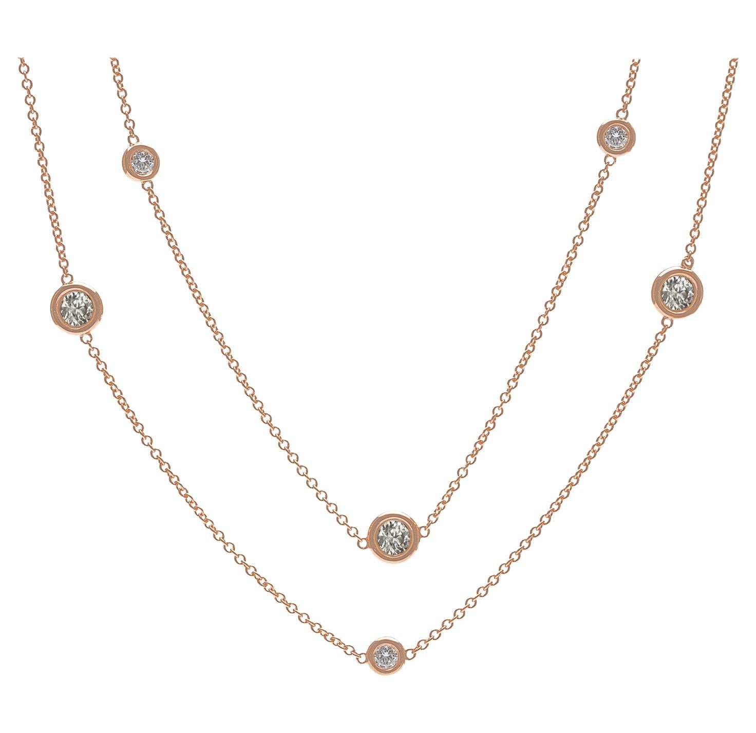 Diamond and Rose Gold Long Chain Necklace