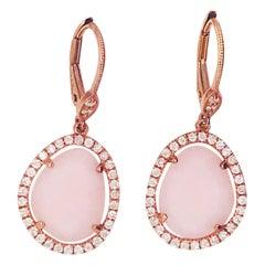 Diamond and Rose Opal Dangle Earrings in 14 Karat Rose Gold