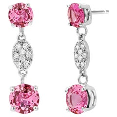 Diamond and Round Pink Sapphire Gold Drop Earrings One Inch Long