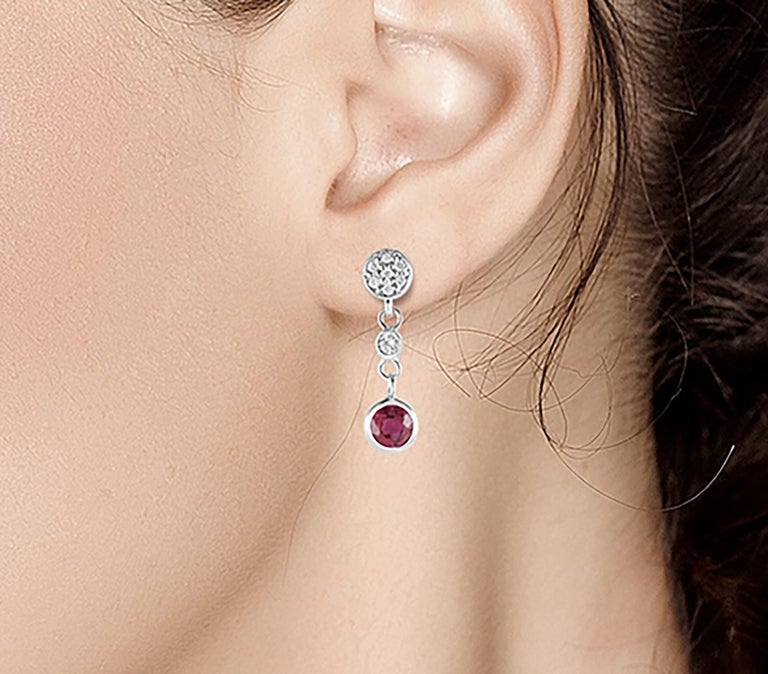 Diamond and Round Ruby Drop Earrings Weighing 1.38 Carat In New Condition For Sale In New York, NY