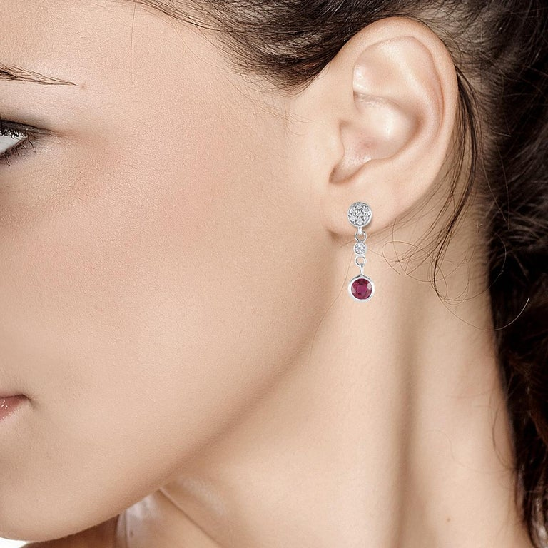 Diamond and Round Ruby Drop Earrings Weighing 1.38 Carat For Sale 1