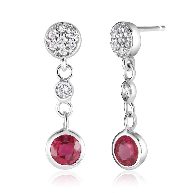 Contemporary Diamond and Round Ruby Drop Earrings Weighing 1.38 Carat For Sale
